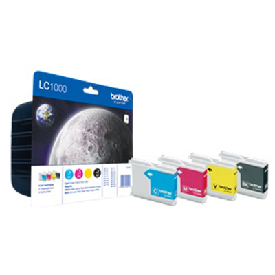 Genuine Brother LC1000 BK/C/M/Y Multipack Ink Cartridge (LC-1000BKCMYVALBPOEM)