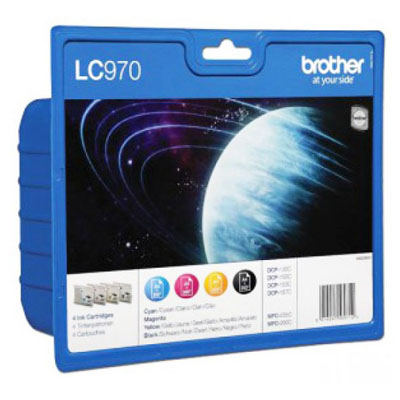 Genuine Brother LC970 Multipack (BK/C/M/Y)Ink Cartridges (LC-970VALBPOEM)