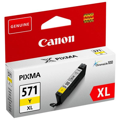 Genuine Canon CLI-571XL Yellow High Capacity ink Cartridge (CLI571XLYOEM)