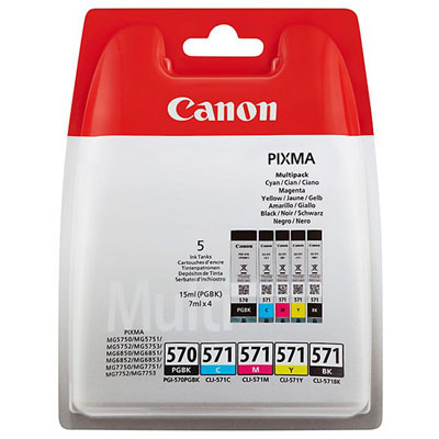 Genuine Canon PGI-570 Black CLI-571 BK/C/M/Y Multi Pack ink Cartridge (PGI570BKCLI571BKCMYMULTIOEM)