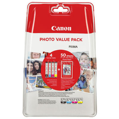 Genuine Canon CLI571 BK/C/M/Y/Glossy Paper Multi Pack ink Cartridge (CLI571BKCMYGPMULTIOEM)