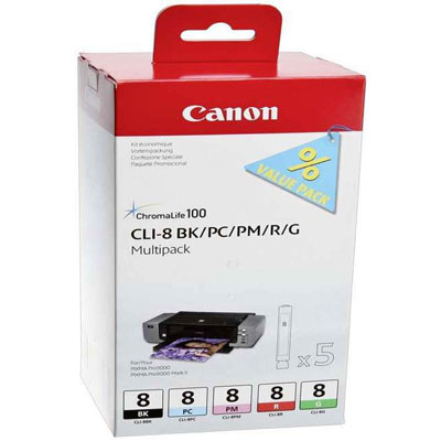 Genuine Canon CLI-8 PBK/PC/PM/R/G Multi Pack Ink Cartridge (CLI8PBKPCPMGRMMULTIOEM)