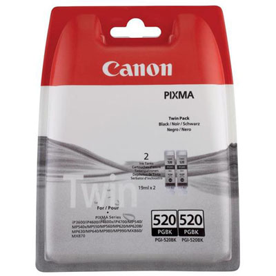 Genuine Canon PGI-520 Black Twin Pack Ink Cartridge (PGI520BKTWINOEM)