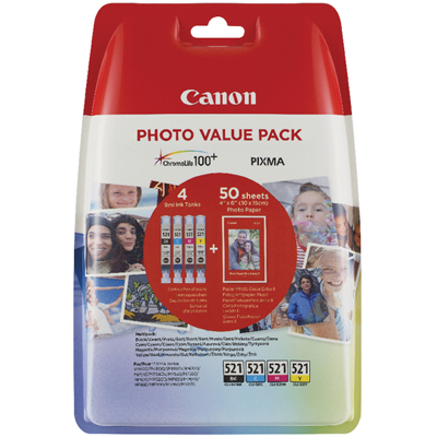 Genuine Canon CLI-521 PBK/C/M/Y Photo Value Pack 4X6 50 Sheets of Photo Paper (CLI521PBKCMYPSOEM)