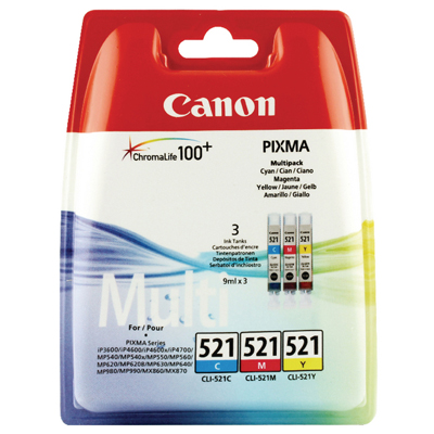Genuine Canon CLI-521 C/M/Y Multi Pack Ink Cartridge (CLI521CMYMULTIOEM)
