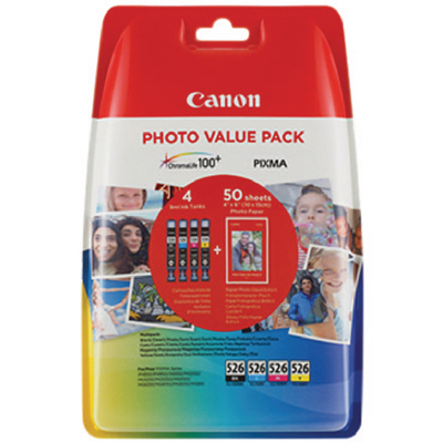 Genuine Canon CLI-526 Photo Paper Value Pack Ink Cartridge (CLI526VAL+PHOTOOEM)