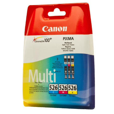 Genuine Canon CLI-526 C/M/Y Pack Ink Cartridge (CLI526CMYOEM)