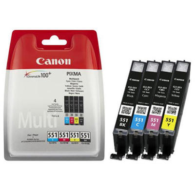 Genuine Canon  CLI-551 C/M/Y/PBK Multi Pack Ink Cartridge (CLI551CMYPBKOEM)
