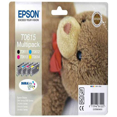 Genuine Epson C13T06154010 BK/C/M/Y Quad Pack of Inks Taddy Bear (T0615BKCMYMULTIOEM)