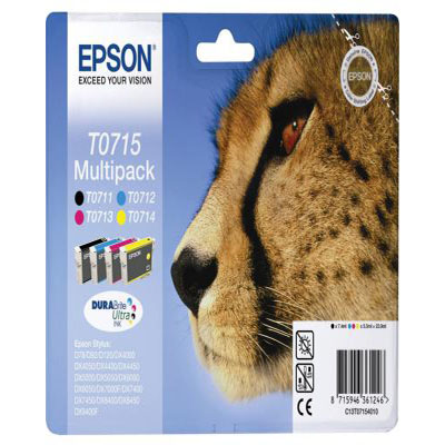 Genuine Epson C13T07154012 BK/C/M/Y Multi Pack Ink Cartridge (T0715BKCMYMULTIOEM)