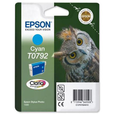 Genuine Epson C13T07924010 Cyan Ink Cartridge (T0792COEM)