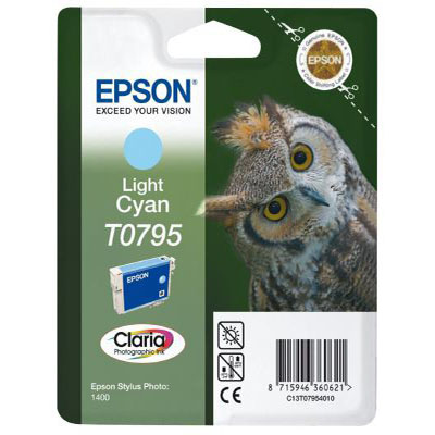 Genuine Epson C13T07954010 Light Cyan Ink Cartridge (T0795LCOEM)