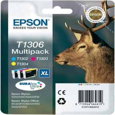Genuine Epson T1306 C/M/Y Multi Pack Ink Cartridge (T1306CMYMULTIOEM)