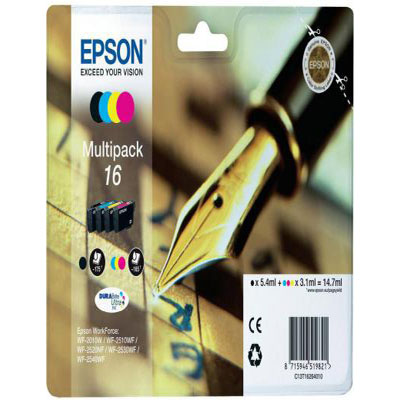 Genuine Epson C13T16264012 BK/C/M/Y Multi Pack Ink Cartridge (T1626BKCMYMULTIOEM)