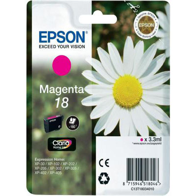 Genuine Epson C13T18034012 (#18) Magenta Ink Cartridge (T1803MOEM)