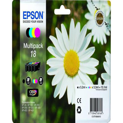 Genuine Epson C13T18064012 (#18) BK/C/M/Y Multi Pack Ink Cartridge (T1804YOEM)