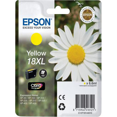 Genuine Epson C13T18144012 (#18H) Yellow High Capacity Ink Cartridge (T1814XLYOEM)
