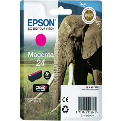 Genuine Epson C13T24234012 (#24) Magenta Ink Cartridge (T2423MOEM)