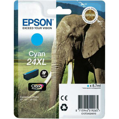 Genuine Epson C13T24324012 (#24H) Cyan High Capacity Ink Cartridge (T2432XLCOEM)