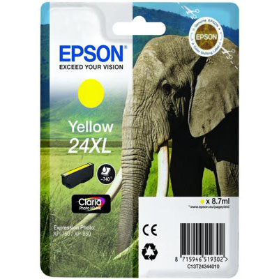 Genuine Epson C13T24344012 (#24H) Yellow High Capacity Ink Cartridge (T2434XLYOEM)