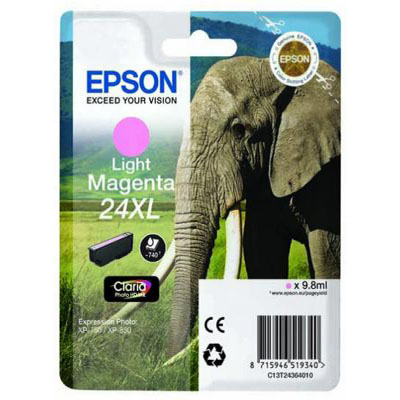 Genuine Epson C13T24364012 (#24H) Light Magenta High Capacity Ink Cartridge (T2436XLLMOEM)