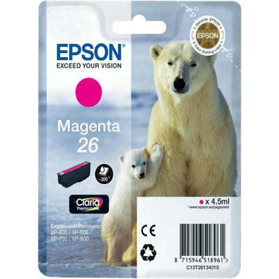 Genuine Epson C13T26134012 (#26) Magenta Ink Cartridge (T2613MOEM)