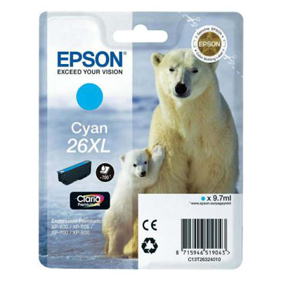 Genuine Epson C13T26324012 (#26H) Cyan High Capacity Ink Cartridge (T2632XLCOEM)
