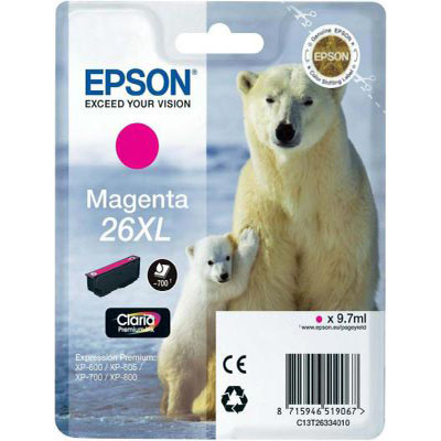 Genuine Epson C13T26334012 (#26H) Magenta High Capacity Ink Cartridge (T2633XLMOEM)