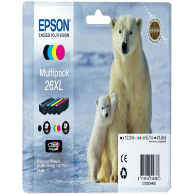 Genuine Epson C13T26364010 (#26H) BK/C/M/Y Multi Pack High Capacity Ink Cartridge (T2636XLBKCMYMULTIOEM)