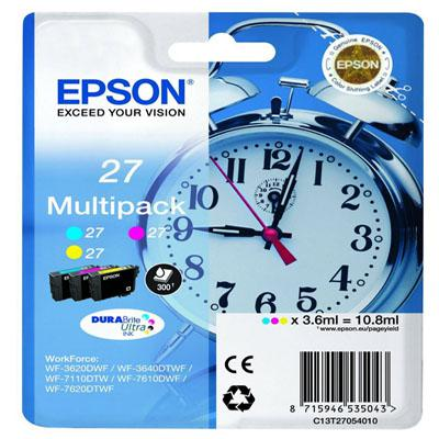 Genuine Epson C13T27054010 (27) C/M/Y Multi Pack Ink Cartridge(T27CMYMULTIOEM)