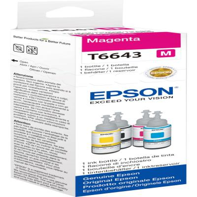 Genuine Epson C13T664340 Magenta Ink Bottle (T6643MOEM)