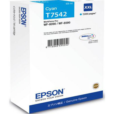 Genuine Epson C13T754240 Cyan Extra High Capacity Ink Cartridge (T7542CHOEM)