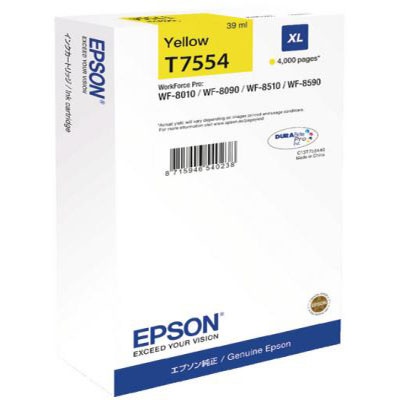 Genuine Epson C13T755440 Yellow High Capacity Ink Cartridge (T7554YHOEM)
