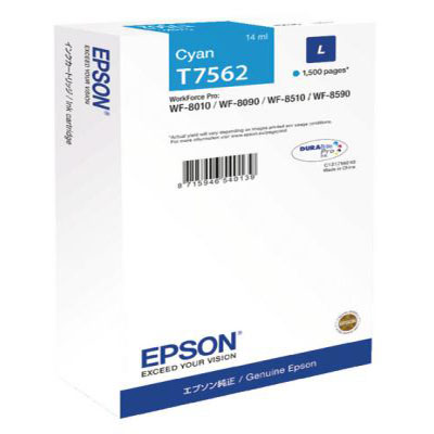 Genuine Epson C13T756240 Cyan Ink Cartridge (T7562COEM)