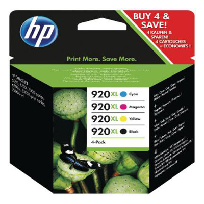 Genuine HP (#920H) BK/C/M/Y High Capacity Ink Cartridge (HP920XLBKCMYHOEM)