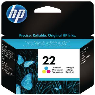 Genuine HP C9352AE (#22) Tri Colour Ink Cartridge (HP22CLROEM)