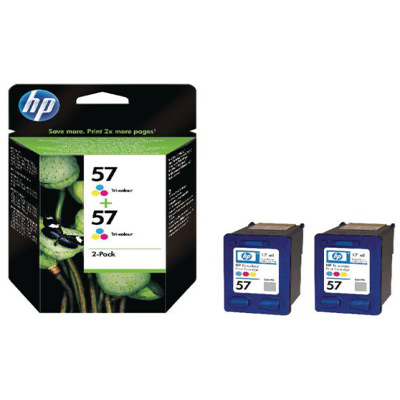 Genuine HP C9503AE (#57) Tri-Colour Twin Pack Ink Cartridge (HP57CLRTWINOEM)