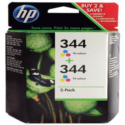 Genuine HP C9505EE (#344) Tri-Colour Twin Pack Ink Cartridge (HP344CLRTWINOEM)