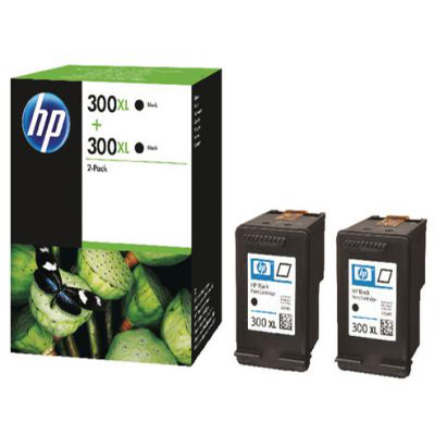 Genuine HP D8J43AE (#300H) Black Twin pack High Capacity Ink Cartridge (HP300XLBKTWINOEM)