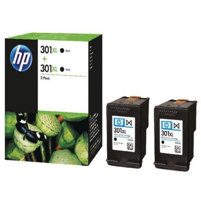 Genuine HP D8J45AE (#301H) Black High Capacity Twin Pack Ink Cartridge (HP301BKHTWINOEM)