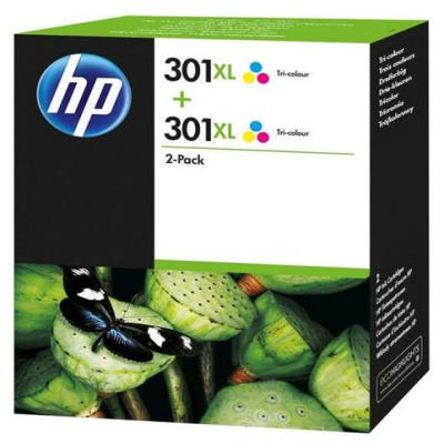 Genuine HP D8J46AE (#301H) Tri-Colour High Capacity Twin Pack Ink Cartridge (HP301CLRHTWINOEM)