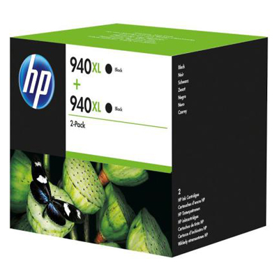 Genuine HP (#940H) Black High Capacity Twin Pack Ink Cartridge (HP940XLBKHTWINOEM)