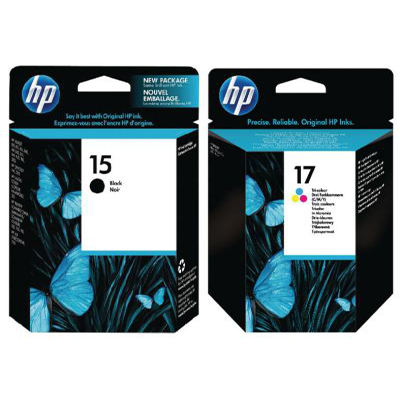 Genuine HP (#15) Black HP (#17) Tri-Colour Ink Cartridge (HP15BKHP17CLROEM)