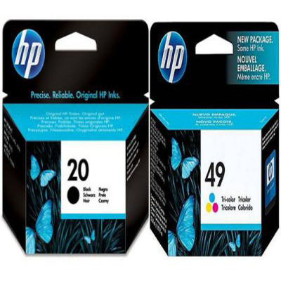 Genuine HP (#20) Black HP (#49) Tri-Colour Ink Cartridge (HP20BKHP49CLRTWINOEM)