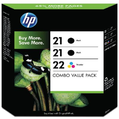 Genuine HP SD400AE (#21) Black HP (#22) Tri-Colour Twin Pack Ink Cartridge (HP21BKHP22CLRTWINOEM)