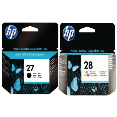 Genuine HP (#27) Black HP (#28) Tri-Colour Multi Pack Ink Cartridge (HP27BKHP28CLRMULTIOEM)
