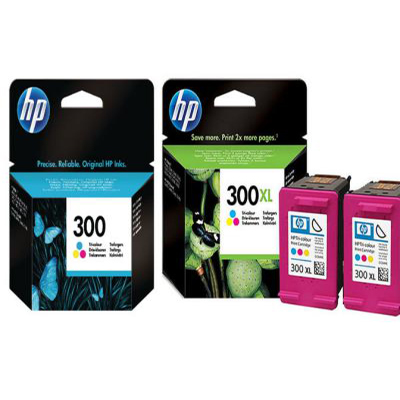 Genuine HP (#300) BK Twin HP (#300) Tri-Colour Triple Pack Ink Cartridge (HP300BKTWINCLRTRIPLEOEM)
