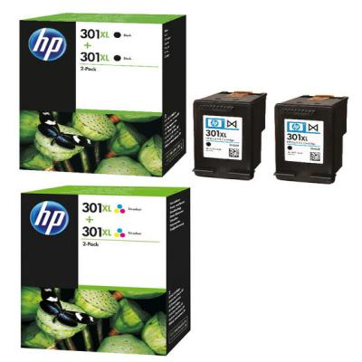 genuine hp 301 bk twin tri colour high capacity multi pack ink cartridge hp301bkhtwinclrhoem. Black Bedroom Furniture Sets. Home Design Ideas