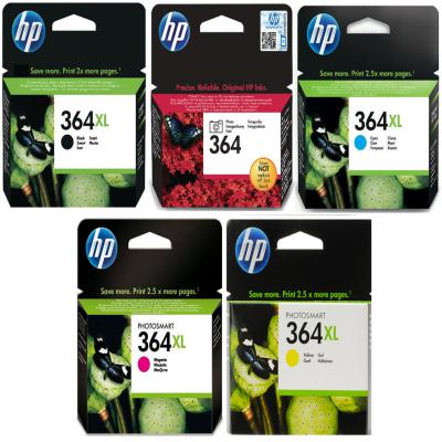 Genuine HP (#364) BK/C/M/Y/PBK High Capacity Multi Pack Ink Cartridge (HP364XLBKCMYPBKMULTIOEM)