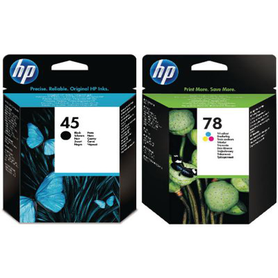 Genuine HP (#45H) Black HP (#78) Tri-Colour Multi Pack Ink Cartridge (HP45BKHHP78CLRMULTIOEM)